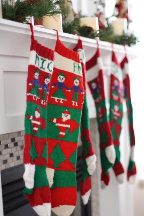 Handmade knit christmas stockings