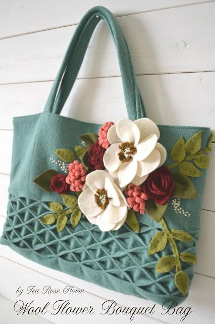 Tea Rose Home Wool flower bag tutorial