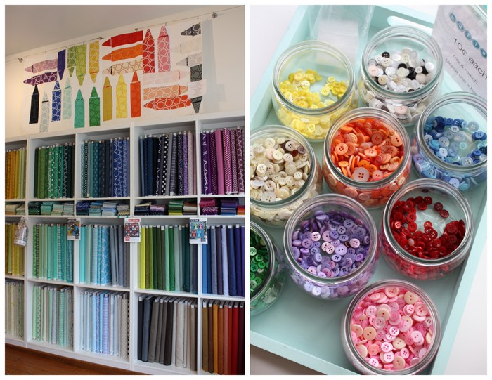 Suppose Quilt shop color wall buttons