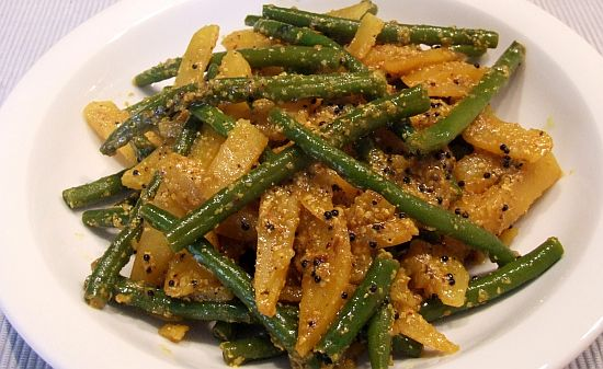 Foto Grüne Bohnen und Kartoffeln in Senföl