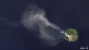 A Landsat-8 OLI image over an Indonesian volcano (image credit: NASA).