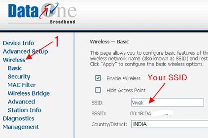 find ssid of router bsnl