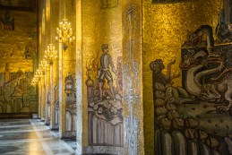 Wall after wall in the Golden Room contain intricate depictions of events in Swedish history. July 2015.