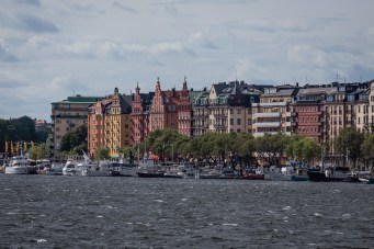 Buildings line the sides of Stockholm's key. July 2015.