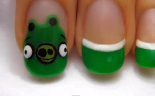 evil green pigs nail art