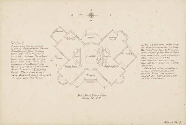 Cooleemee Plantation House architectural drawing of the main floor plan.