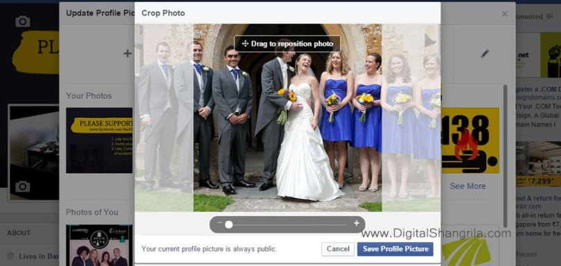 Uploading facebook profile picture without cropping
