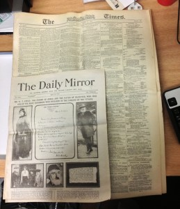 The Mirror and The Times - size comparison
