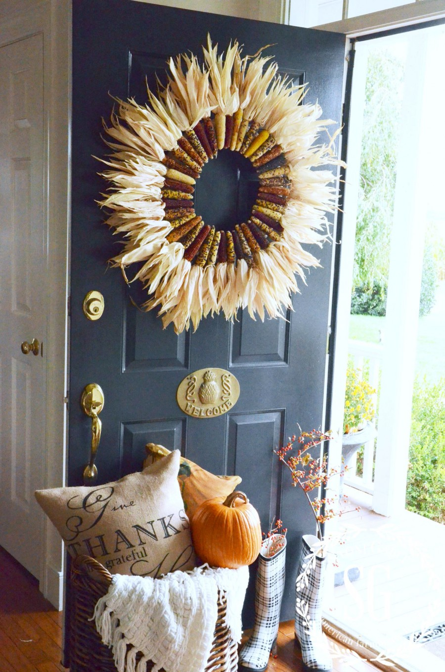 Smashing Corn Inviting Fall Front Door Dcor Ideas Digsdigs Front Door Decorative Trim Front Door Decor Etsy Corn Husks Are Materials To Make Your Fall curbed Front Door Decor
