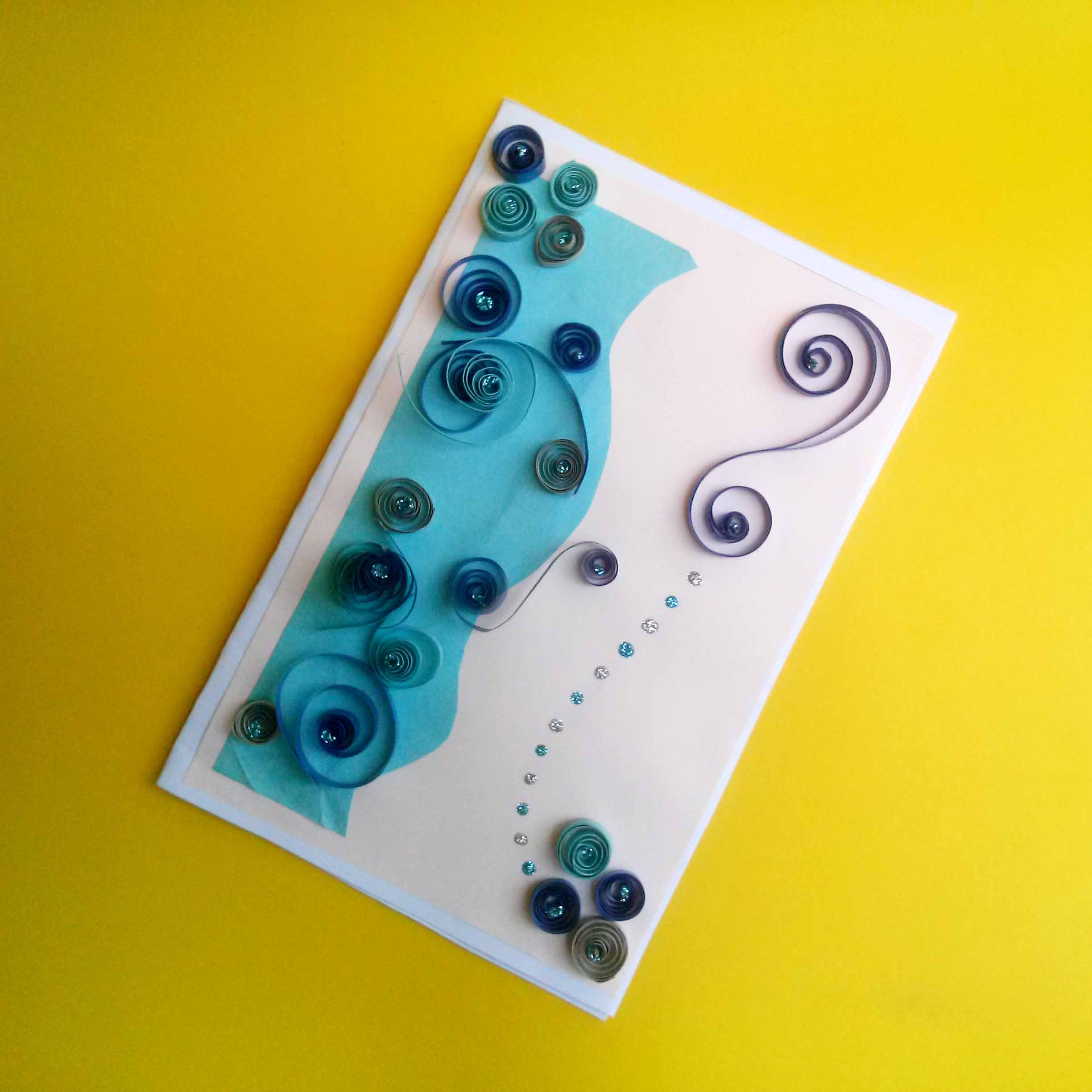 Blue Spiral Quilling Card