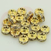 Rhinestone Beads, Rhinestone Spacer Beads, Spacer Beads, Clear Spacer Beads