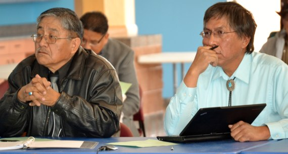 Navajo Council Resources & Development Committee Subcommittee on Proposed Agreement between Navajo Nation and Uranium Resources Inc. members Leonard Pete and Leonard Tsosie at the Navajo Nation Museum in Window Rock, Ariz., on March 17, 2014. Photo by Marley Shebala