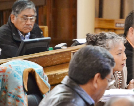 (L-R) Delegate Leonard Pete listens intently to Delegate Katherine Benally's opposition to administrative leave for Speaker Naize on April 4, 2014. Delegate Russell Begaye sits in front of Benally. Photo by Marley Shebala