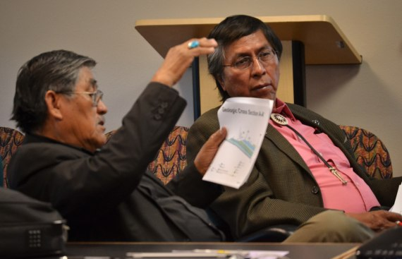 Navajo Council Resources & Development Committee's Subcommittee Vice Chairperson Leonard Pete and Chairperson Leonard Tsosie. The subcommittee is to draft agreement between URI and Navajo Nation for proposed In-Situ Uranium Mining Demonstration Project near Church Rock, N.M. The subcommittee is meeting URI at tribal Economic Development Division in St. Michaels, Ariz. on April 30, 2014. Photo by Marley Shebala.