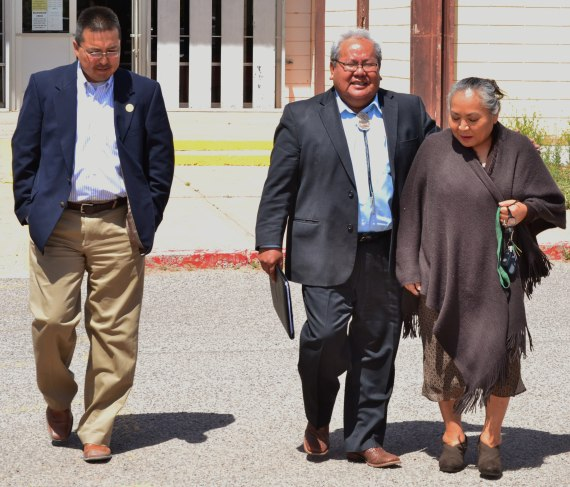 Navajo Office of the Speaker Chief of Staff Jarvis Williams, suspended Speaker Johnny Naize and Delegate Katherine Benally, a staunch supporter of Naize, leave the Window Rock, Ariz., District Court after hearings on Naize's motion for to halt his paid leave were adjourned on April 25, 2014. Photo by Marley Shebala.