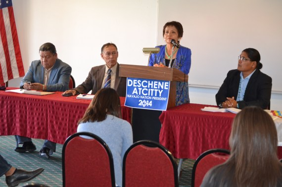 Navajo Nation presidential political candidate Chris Deschene's team members Harry Ernest Begay and Steven Begay, and Deschene's running mate Fannie Lowe-Atcitty and Chris Deschene at press conference in Navajoland Inn in St. Michaels, Ariz., on Sept. 2, 2014. Photo by Marley Shebala. (Please provide proper photo credit when reusing photo.)