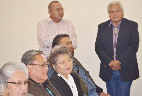 Navajo Election Office Director Edison Wauneka and Election Board Vice Chairperson Tom M. White Jr., Supervisors Lenora Fulton, Jonathan Tso, Norman L. Begay and Chairperson Wallace Charley at the Navajo Nation Supreme Court hearing on their contempt of court hearing at the Navajo Nation Chinle, Ariz., District Court on Oct. 31, 2014. Photo by Marley Shebala (When re-using photo, please provide proper credit.)