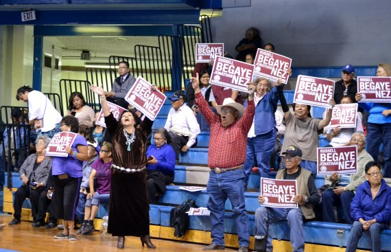 Supporters of Navajo Nation President-elect Russell Begaye and Vice President-elect Jonathan Nez reacting to unofficial election results at the Sports Center in Window Rock, Ariz. on April 21, 2015. Photo by Marley Shebala. (Credit when reusing photo.)