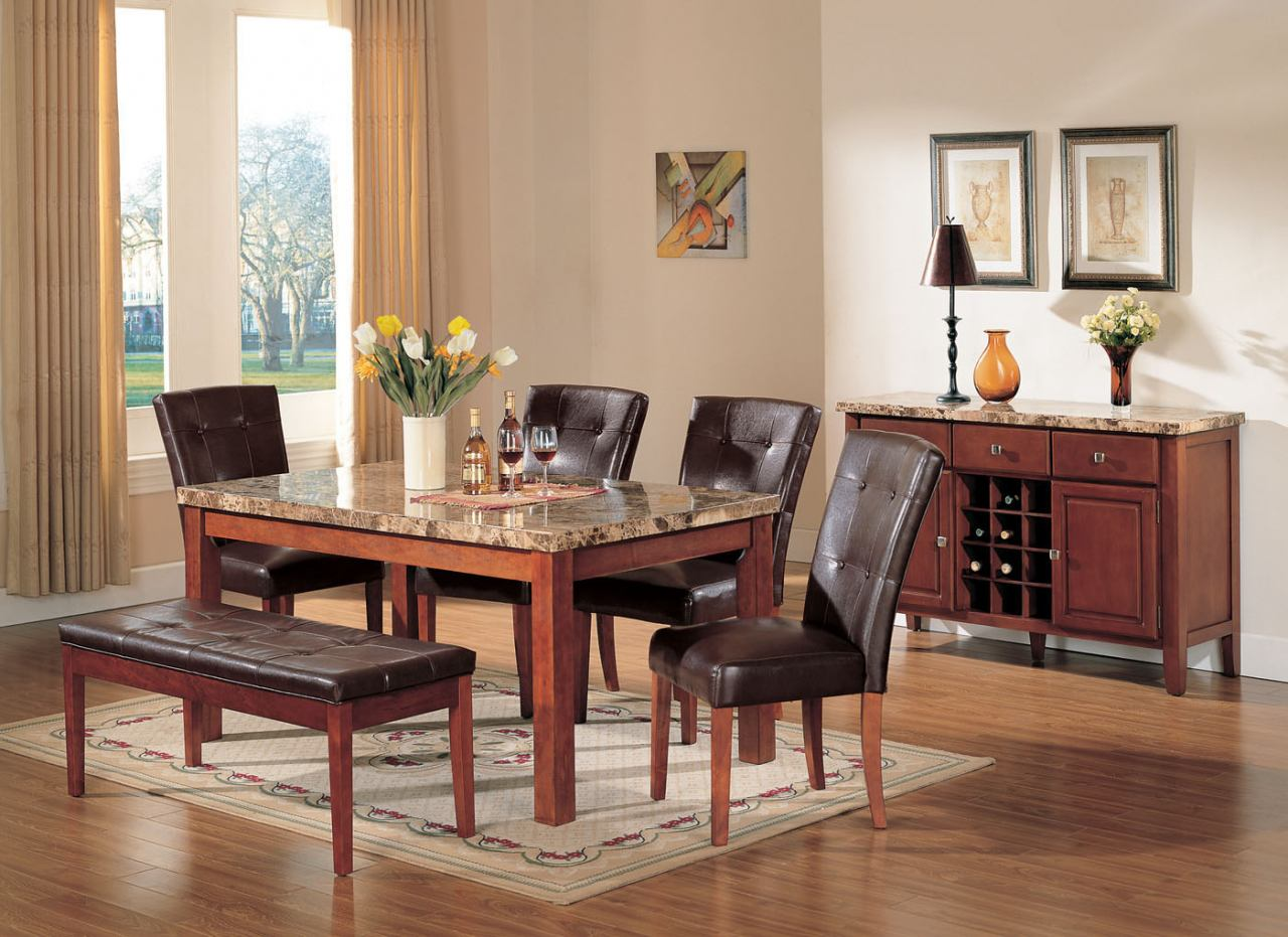 acme bologna 6 pc marble top rectangular dining table set in brown marble top kitchen table Acme Bologna 6 pc Marble Top Rectangular Dining Table Set in Brown