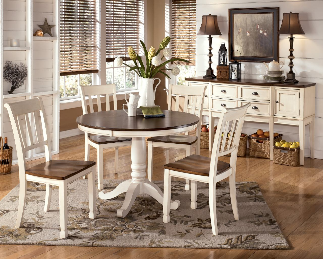 whitesburg 5 piece round dining table set in brown white round kitchen table set Whitesburg 5 Piece Round Dining Table Set in Brown White