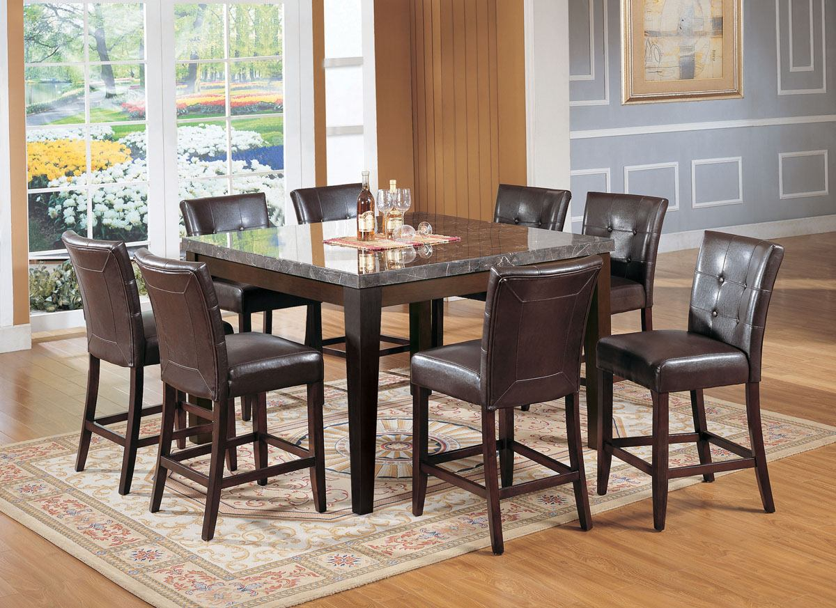 acme danville 7 pc marble top square counter height dining table set in espresso marble top kitchen table Acme Danville 7 pc Marble Top Square Counter Height Dining Table Set in Espresso