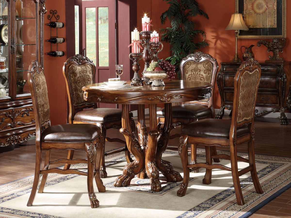 acme dresden 5 pc round counter height dining table set in brown cherry oak counter height kitchen table Acme Dresden 5 pc Round Counter Height Dining Table Set in Brown Cherry Oak