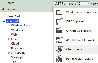 Visual Studio 2012 New Class Library Project