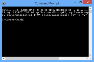 Command Prompt to run SQLCMD