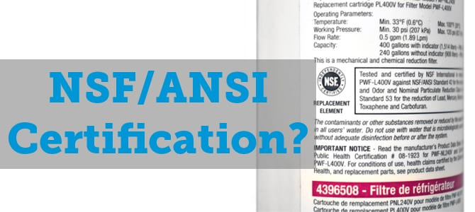 What does the NSF/ANSI certification mean on a water filter?