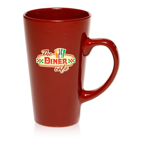 Smothery Lids Maroon Green Custom Tall Cafe Style Coffee Mugs Discountmugs Large Tall Ceramic Coffee Mugs Tall Ceramic Coffee Mugs