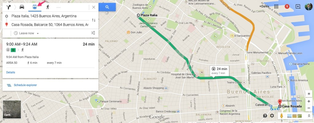 Buenos Aires Subway Directions in Google Maps