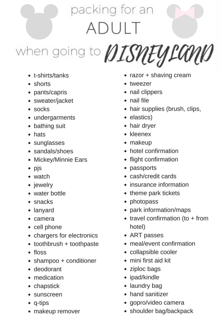 adult packing list for Disneyland