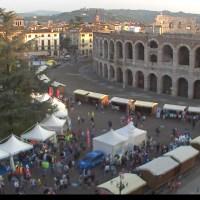 Prima di Verona Marathon dalle webcam di Piazza Bra