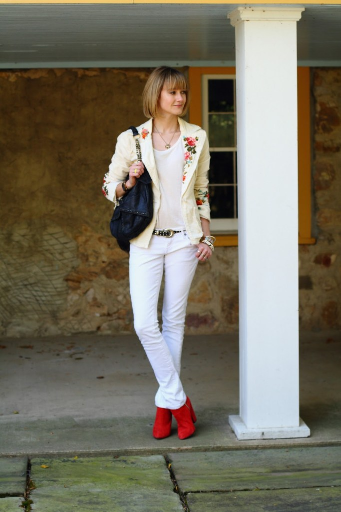 white jeans and red ankle boots