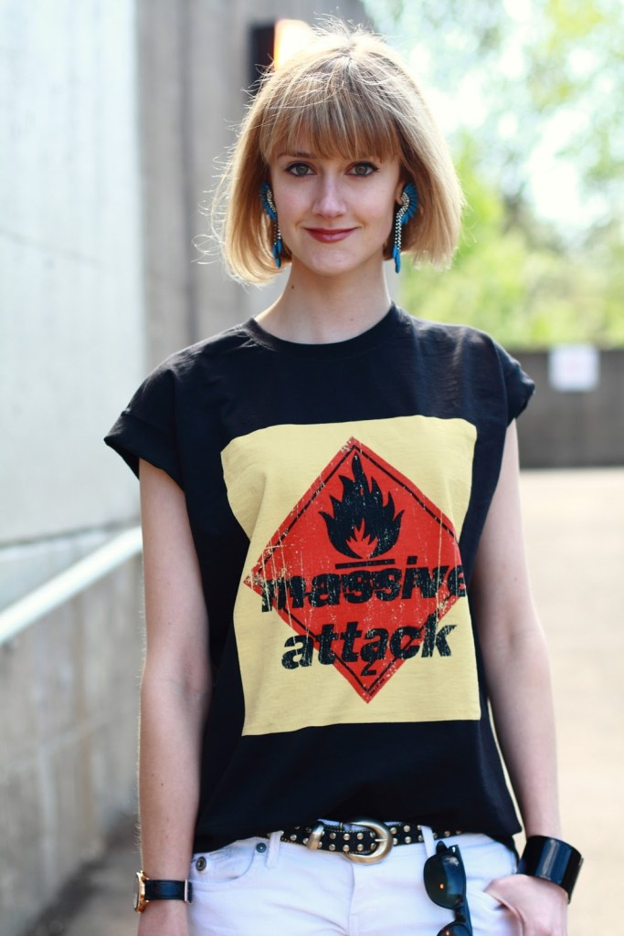 Elizabeth Cole earrings and Massive Attack top