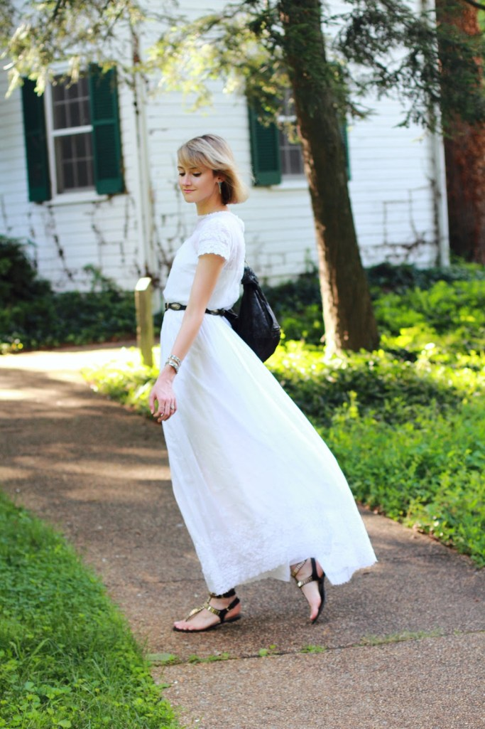 white vintage dress and black flat sandals