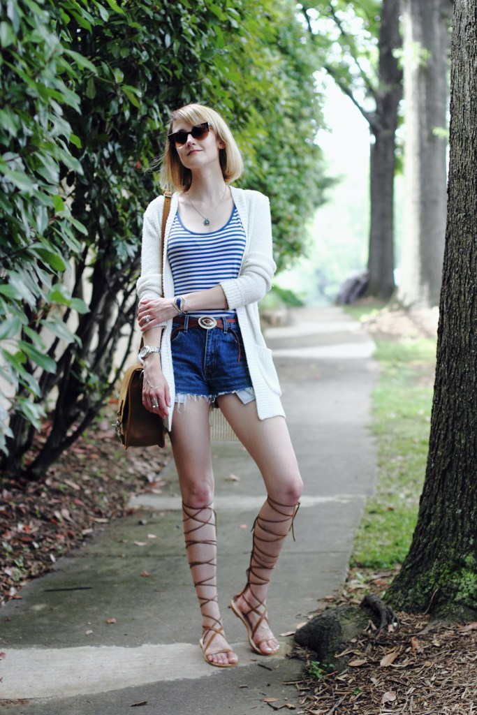 striped top, cut-offs, and lace-up gladiators