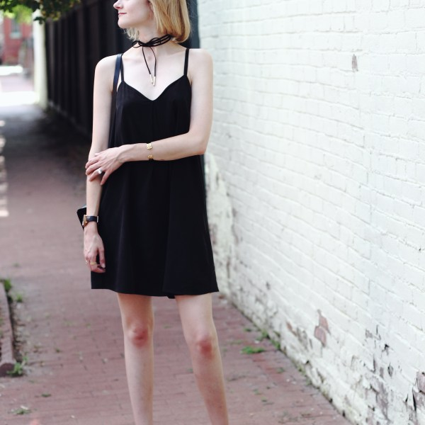 Joie silk dress and Stuart Weitzman nudist heels