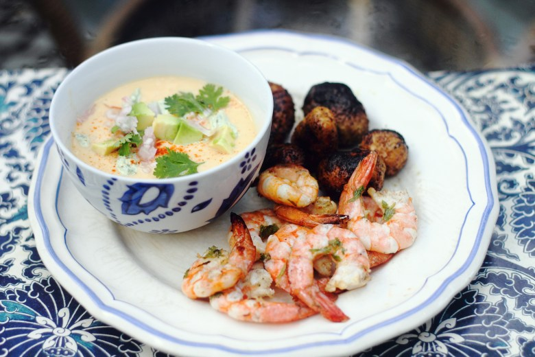 Esquites and Yellow Tomato Gazpacho with Grilled Shrimp and Spicy Potatoes