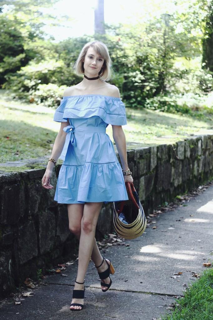off-the-shoulder dress and denim heels