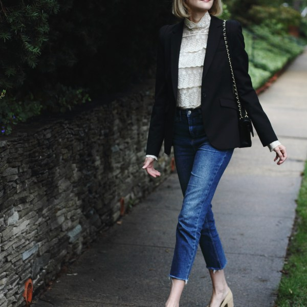 victorian blouse and high-waisted jeans
