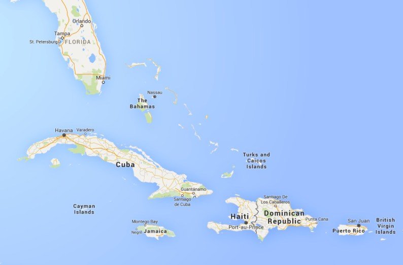 Puerto Rico is an island in the Caribbean Sea southeast of Florida./Map data 2016 Google
