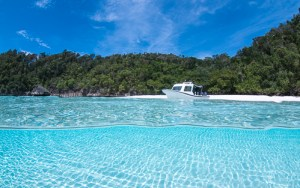 Clear water white sandy beach & dive boat