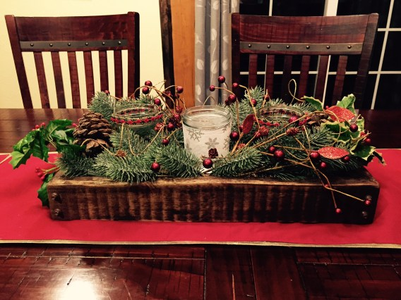 Finished Christmas table centerpiece
