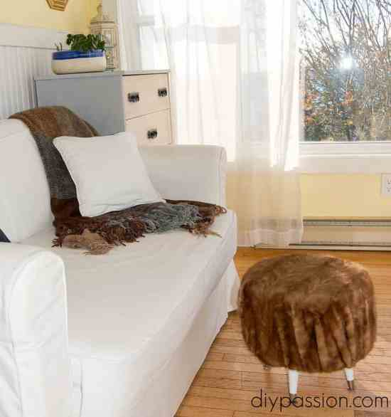 Make an Ottoman from a Fur Coat