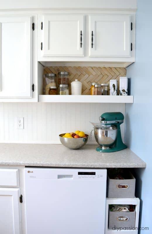 DIY Kitchen One Year Later - Herringbone Back splash still looks good!