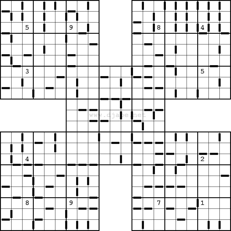 Samurai Sudoku Easy http://www.djape.net/consecutive-samurai-sudoku/