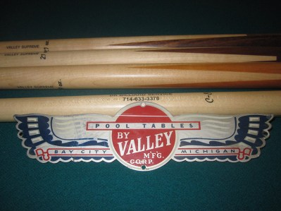 vintage Valley pool table nameplate