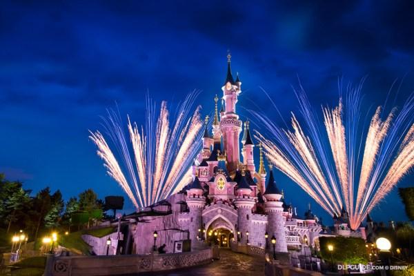 Sleeping Beauty Castle fireworks at Disneyland Paris