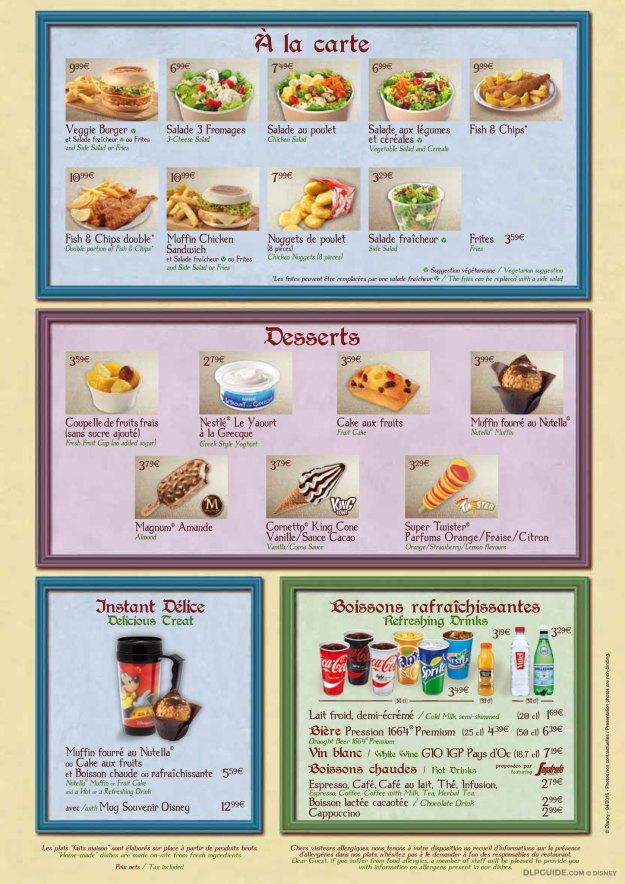 Toad Hall Restaurant menu
